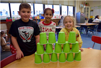 Students with cup activity