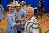 Photo of students with a blood donor.