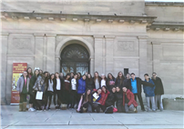 Students in front of museum